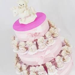 Torta bomboniera bimba orsetti sole luna stella assortiti effetto porcellana battesimo nascita femminuccia