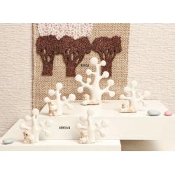 Bomboniere Claraluna Statuina albero della vita in ceramica bianca con orsetto cuore
