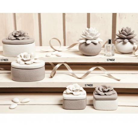 Bomboniere Claraluna scatolina porta gioie diffusore con kit essenza effetto pietra con decori floreali.