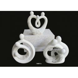 Bomboniere Claraluna Statuina Coppia Sacra famiglia stilizzata in diverse posizioni con decori effetto pietra