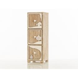 Bomboniera Cuorematto mobiletto in legno con decori di paesaggio applicati in rilievo su i tre cassetti
