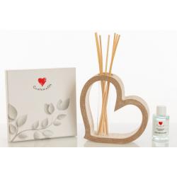 Bomboniera Cuorematto Profumatore diffusere per ambiente in legno a forma di cuore con midollini,fragranza inclusi