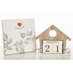Bomboniera Cuorematto calendario casetta in legno con applicazioni in rilievo a forma di paesaggio