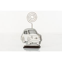 Bomboniera Cuorematto memo clip porta messaggio in legno a forma di macchina 500