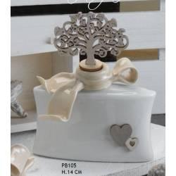 profumatore diffusore ceramica e albero della vita con cuoricini in legno