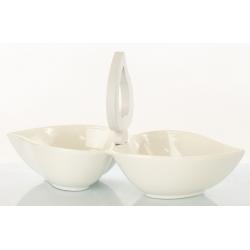 Bomboniera Cuorematto antipastiera doppia in ceramica e manico in legno bianco bomboniere utili Matrimonio 2019