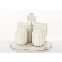 Bomboniera Cuorematto set sale pepe e portatovagliolo in ceramica bianca e base legno  Matrimonio 2019