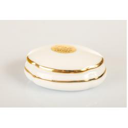 Bomboniera Cuorematto scatola ovale in porcellana Limoges con filo color oro sul coperchio utili per il tuo matrimonio