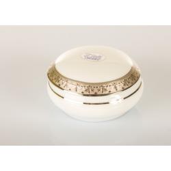 Bomboniera Cuorematto scatola tonda in porcellana Limoges con simile color platino sul coperchio utili per il tuo matrimonio
