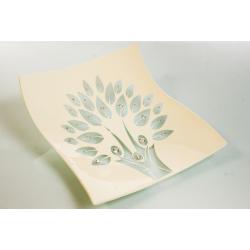 Bomboniera Cuorematto centrotavola quadrato in vetro bianco e albero della vita disegnato con applicazioni strass