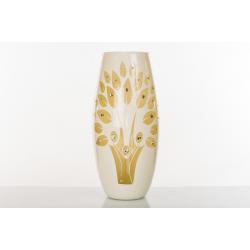 Bomboniera Cuorematto vaso per fiori in vetro bianco e albero della vita disegnato con applicazioni strass