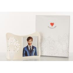 Bomboniera Cuorematto portafoto curvo da appoggio in vetro bianco e albero della vita disegnato con applicazioni strass