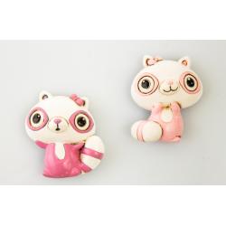 Bomboniera Cuorematto magnete animaletto poldina in resina decorata rosa in 2 modelli assortiti
