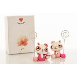 Bomboniera Cuorematto memoclip 2 modelli assortiti in resina decorata poldina rosa