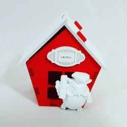 portaconfetti con gufetto bianco montato su casetta in legno originali bomboniere laurea