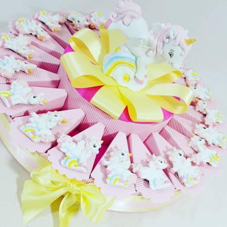 torta bomboniera unicorno magnete femminuccia e salvadanaio bomboniere battesimo online