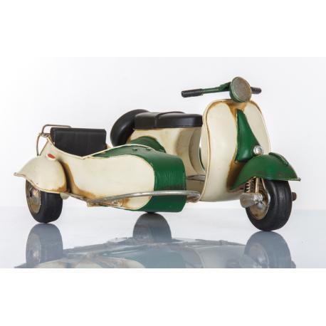 Bomboniera suprammobile sidecar scooter bianco e verde  CUOREMATTO LINEA CUOR VELOCE