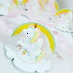 originali bomboniere battesimo comunione arcobaleno in legno con unicorno