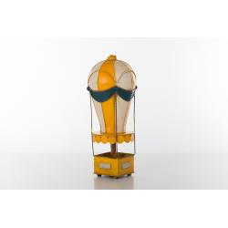 Bomboniera soprammobile mongolfiera piccola in metallo cuoreinvolo dipinta a mano di colore giallo.