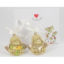Bomboniera Cuorematto ciondolino in resina curata in ogni dettaglio angelo ideale per nascita, Battesimo