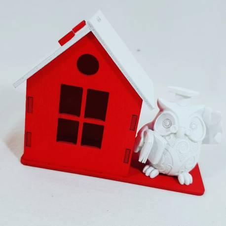 bomboniere laurea gufo laureato con scatolina portaconfetti a forma di casa