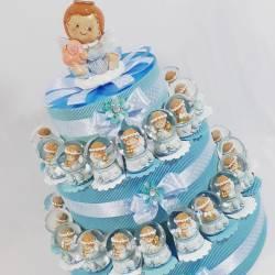 TORTA BOMBONIERE SFERA DI NEVE vetro angioletto bimbo compleanno nascita battesimo
