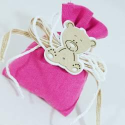 sacchetti nascita bimba prezzi ingrosso con orsetto in legno
