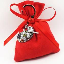 Bomboniere laurea sacchetti rossi con pendente ciondolo tavolozza da pittore