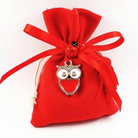 Bomboniere laurea sacchetti rossi con pendente ciondolo gufetto rosso