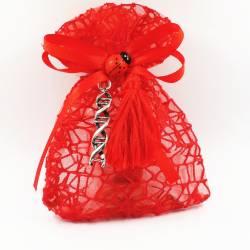Bomboniere laurea biologia DNA portachiavi, nappina rossa sacchetti laurea offerta online