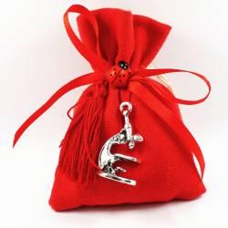 Bomboniere laurea sacchetti rossi con pendente ciondolo microscopio