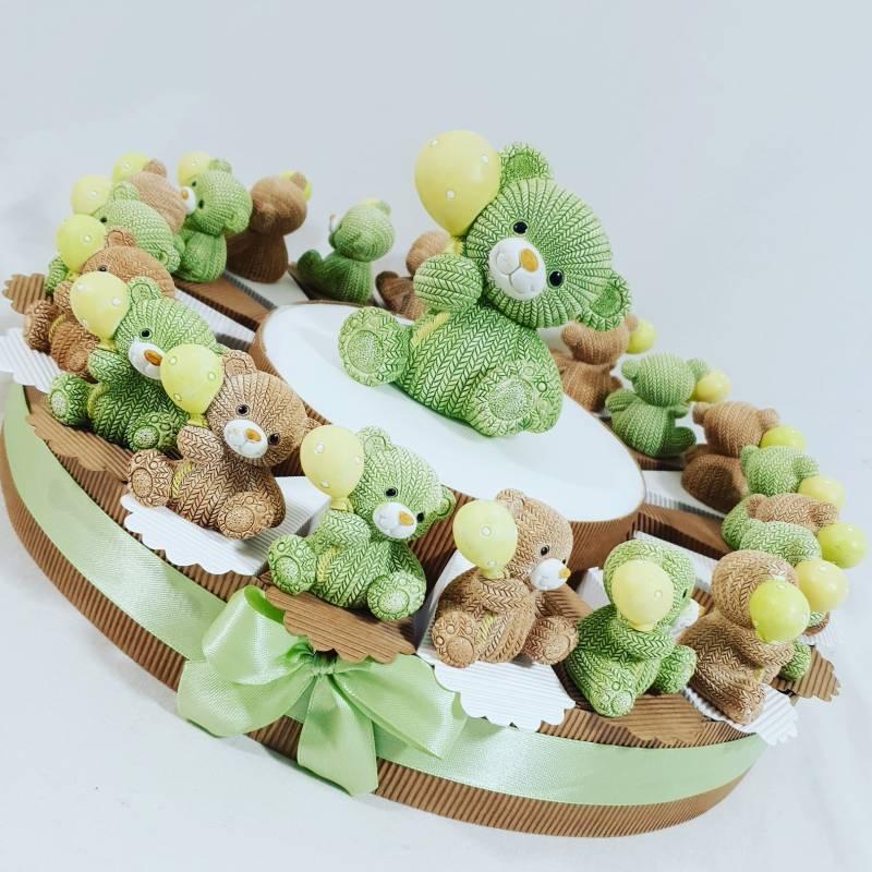 Torta nascita battesimo orsetti resina effetto lana assortiti marroni e verdi BATTESIMO NASCITA COMPLEANNO