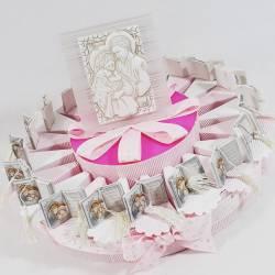 Torta bomboniera SACRA FAMIGLIA con porta confetti per battesimo, cresima bambina