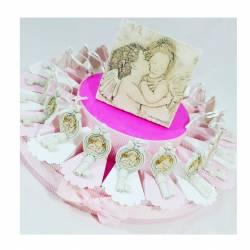 Torta bomboniera chiavi pendenti con angioletto e centrale Carlo Pignatelli