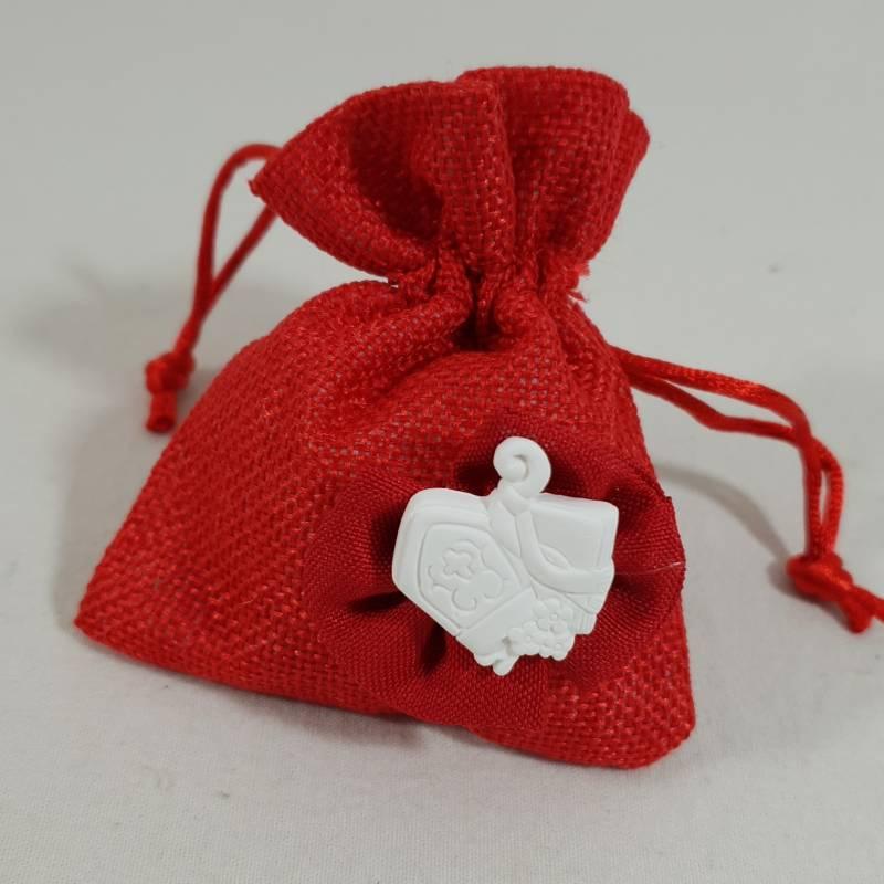 Sacchetti cresima con tiranti rosso con gessetto profumato con mitria