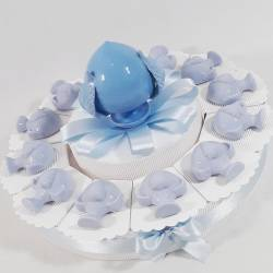 Pumo di Grottaglie in ceramica calamita confezionato su torta bomboniera