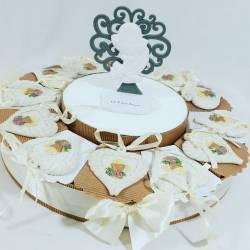 torta bomboniera per comunione con dettaglio claraluna