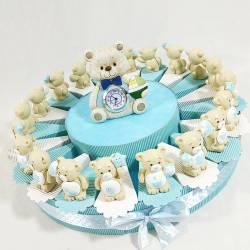 Torta nascita battesimo orsetti resina assortiti con centrale orso con cuore bambino BATTESIMO NASCITA COMPLEANNO