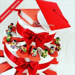 Bomboniera portaconfetti per LAUREA torta con gufetto portachiavi assortito  tocco + tesi c772c772cd85