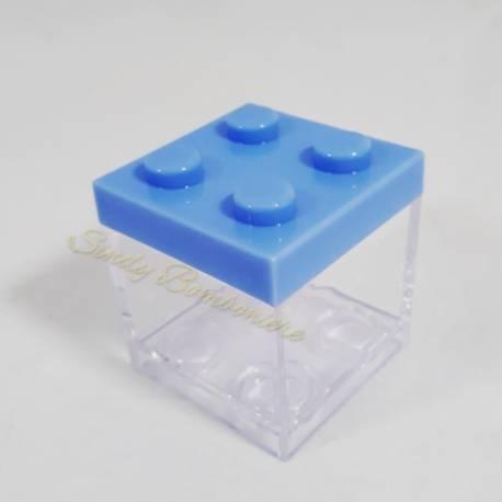 Portaconfetti celeste in plexiglass bomboniere nascita tipo Lego