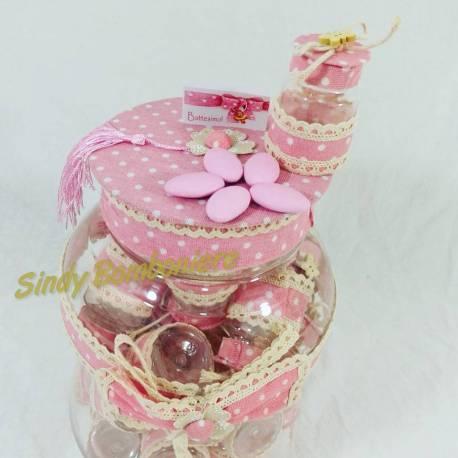 Scatolina porta confetti per bomboniere bambino con stoffa rosa e farfallina
