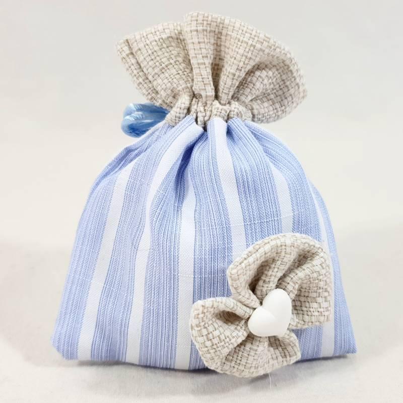 Bomboniere nascita sacchetto in cotone rigato per maschietto