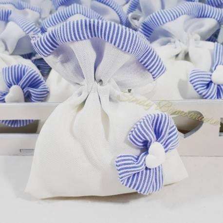 Bomboniere nascita  sacchettini bianchi e azzurri