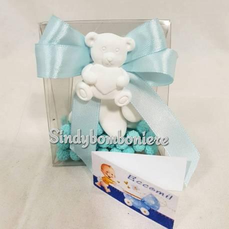 Scatoline portaconfetti bomboniere nascita bimbo gessetto profumati orso