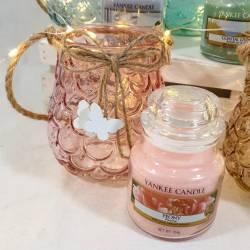 Porta giara in vetro color ambra con giara Yankee Candle fragranza assortita