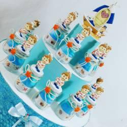Bomboniere Battesimo originali e introvabili marinaio su tappo e fiocco con stella marina