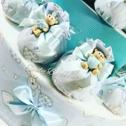 Idea originale bomboniere Battesimo con sacchettini e orsetto in ceramica bambino