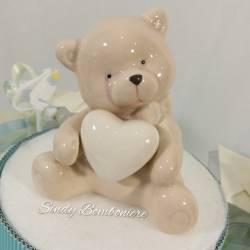 Torta bomboniera Battesimo sacchetti pois orsetto ceramica bambino