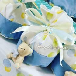 Torta bomboniera Battesimo sacchetti pois orsetto ceramica maschietto