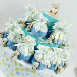 Torta bomboniera Battesimo sacchetti pois orsetto ceramica bimbo